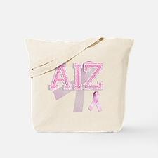 AIZ initials, Pink Ribbon, Tote Bag