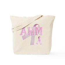 AHM initials, Pink Ribbon, Tote Bag