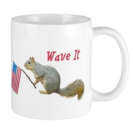 Squirrel Waving US Flag Mug