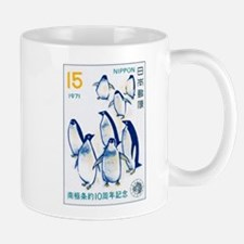 1971 Japan Antarctic Treaty Penguins Stamp Mug