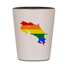 Rainbow Pride Flag Costa Rica Map Shot Glass