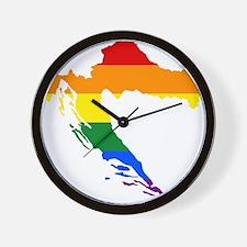 Rainbow Pride Flag Croatia Map Wall Clock