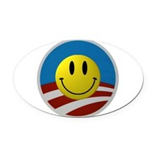 Obama Smiley Icon Oval Car Magnet