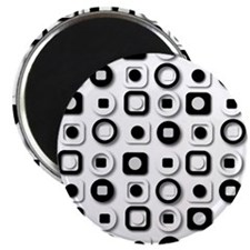 Black White and Gray 3D Modern Pattern Magnet