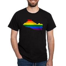 Rainbow Pride Flag El Salvador Map T-Shirt