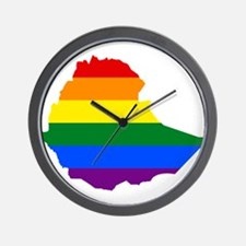 Rainbow Pride Flag Ethiopia Map Wall Clock