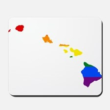 Rainbow Pride Flag Hawaii Map Mousepad