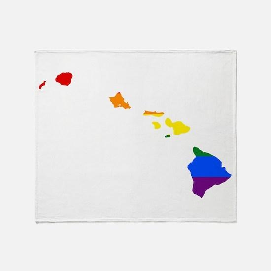 Rainbow Pride Flag Hawaii Map Throw Blanket