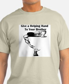Give a Helping Hand to Your Brother Ash Grey T-Shi