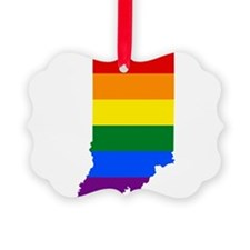 Rainbow Pride Flag Indiana Map Ornament