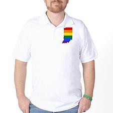 Rainbow Pride Flag Indiana Map T-Shirt