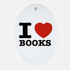 I heart Books Ornament (Oval)