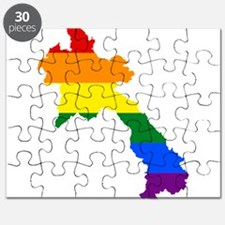 Rainbow Pride Flag Laos Map Puzzle