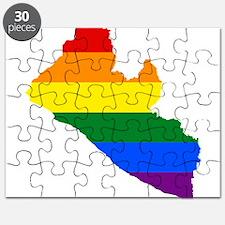 Rainbow Pride Flag Liberia Map Puzzle