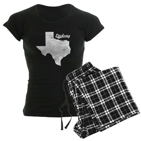Lindsay, Texas. Vintage Women's Dark Pajamas