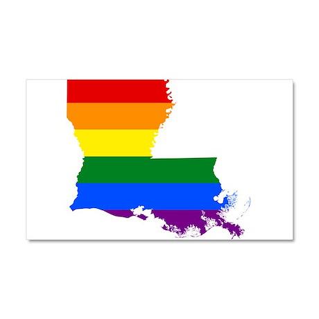 Rainbow Pride Flag Louisiana Map Car Magnet 20 x 1