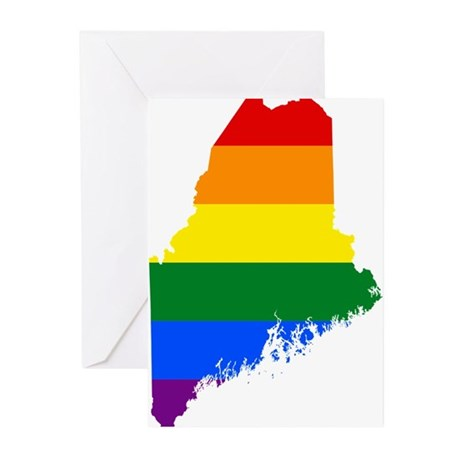 Rainbow Pride Flag Maine Map Greeting Cards Pk Of By