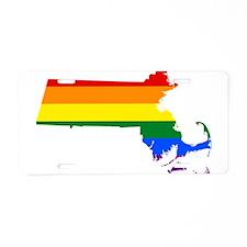 Rainbow Pride Flag Massachusetts Map Aluminum Lice