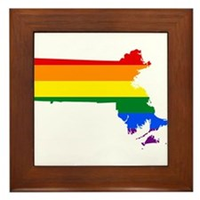Rainbow Pride Flag Massachusetts Map Framed Tile