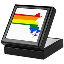 Rainbow Pride Flag Massachusetts Map Keepsake Box