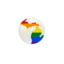 Rainbow Pride Flag Michigan Map Mini Button (10 pa