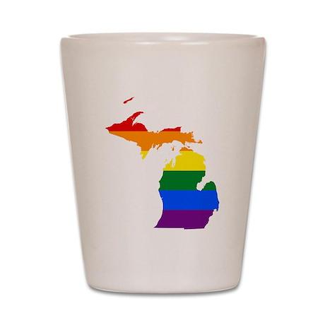 Rainbow Pride Flag Michigan Map Shot Glass