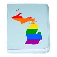 Rainbow Pride Flag Michigan Map baby blanket