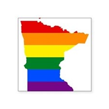Rainbow Pride Flag Minnesota Map Square Sticker 3""