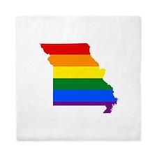 Rainbow Pride Flag Missouri Map Queen Duvet