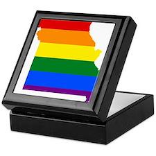 Rainbow Pride Flag Missouri Map Keepsake Box