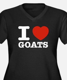 I heart Goats Women's Plus Size V-Neck Dark T-Shir