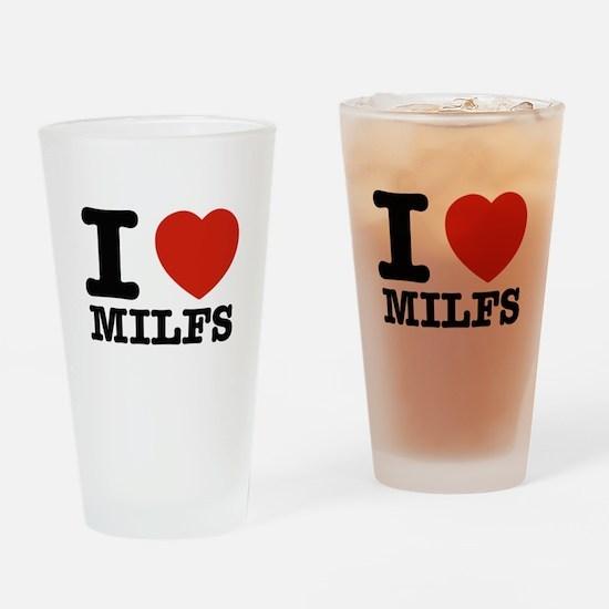 I heart Milfs Drinking Glass