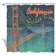 california golden gate pencil effect Shower Curtai