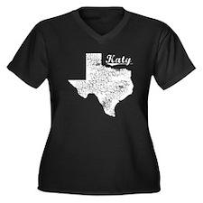 Katy, Texas. Vintage Women's Plus Size V-Neck Dark