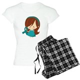 Teal ribbons for cancer T-Shirt / Pajams Pants