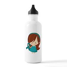 Teal Ribbon Girl Awareness Sports Water Bottle