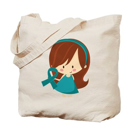 Teal Ribbon Girl Awareness Tote Bag