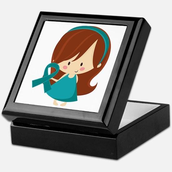 Teal Ribbon Girl Awareness Keepsake Box