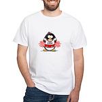 Red CheerLeader Penguin White T-Shirt