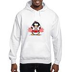 Red CheerLeader Penguin Hooded Sweatshirt
