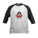 Red CheerLeader Penguin Kids Baseball Jersey