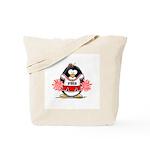 Red CheerLeader Penguin Tote Bag