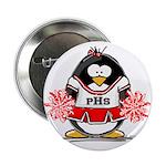Red CheerLeader Penguin Button