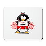 Red CheerLeader Penguin Mousepad