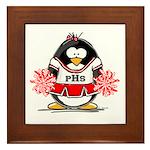 Red CheerLeader Penguin Framed Tile