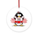 Red CheerLeader Penguin Ornament (Round)