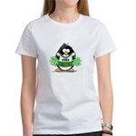 Green CheerLeader Penguin Women's T-Shirt