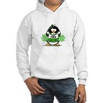Green CheerLeader Penguin Hooded Sweatshirt