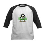 Green CheerLeader Penguin Kids Baseball Jersey