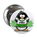 Green CheerLeader Penguin Button